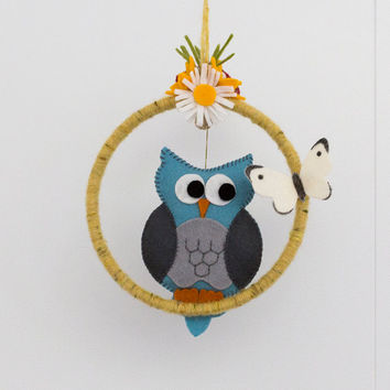 Woodland creatures blue owl, toadstool and butterfly baby mobile - available now, ready to ship