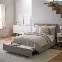 CONTEMPORARY UPHOLSTERED STORAGE BED - DECO WEAVE