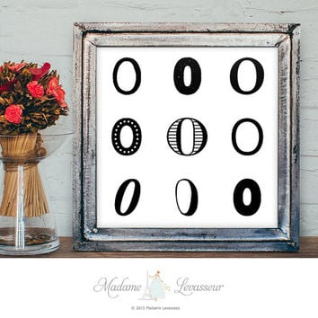 Printable Art Zero Art Typographic art print Number art Alphabet art print Minimalist art Zen art Numeric art print instant download art
