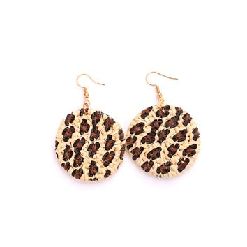 Rattan Drop Earrings with Leopard Print