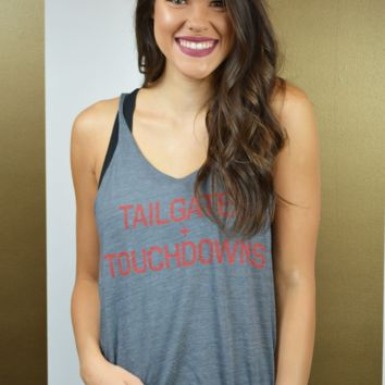 hey y'all tailgates & touchdowns tank - grey
