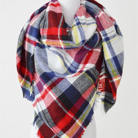 Blanket Scarf - Yellow, Red, Blue