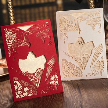 1pcs Red White  Bride and Groom Laser Cut Luxury Wedding Invitations Card