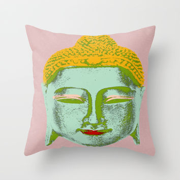 Green Buddha Throw Pillow by Aloke Design