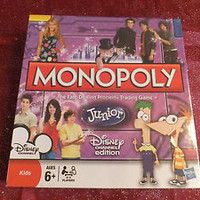 NEW Monopoly Junior Jr Disney Channel Edition Phineas and & Ferb Jonas Brothers