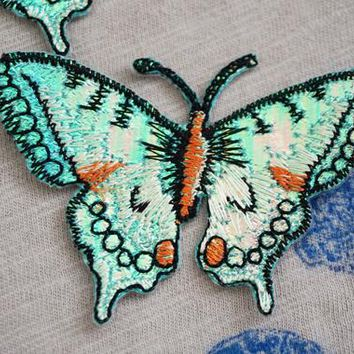 Fluorescent green butterfly iron on patch, embroidered patch, insect patch, iron on jackets/jeans/bags, DIY