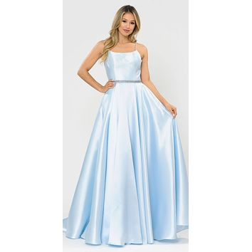 Blue Long Prom Dress with Criss-Cross Lace-Up Back