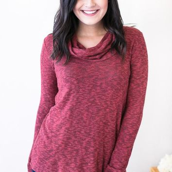 Falling Leaves Cowl Neck Knit Top