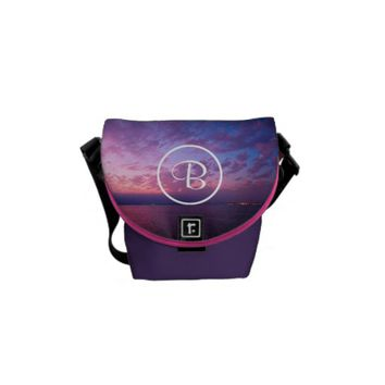 Purple sunset custom monogram mini messenger bag