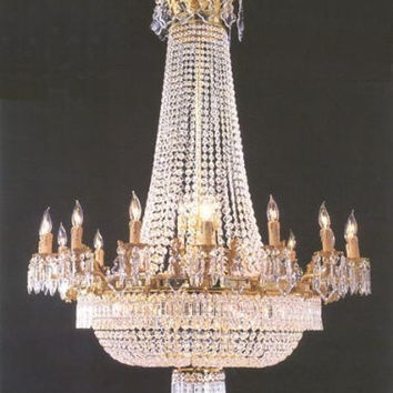 """French Empire Crystal Chandelier Lighting Gold Sw H50"""" X W40"""" - Perfect For An Entryway Or Foyer! Trimmed With Spectra(Tm) Crystal Reliable Crystal Quality By Swarovski - Go-A81-1280/14+7"""