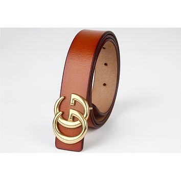 GUCCI simple wild smooth buckle belt double G belt F0333-1 brown