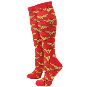 DC Comics Wonder Woman Gold Logo All Over Adult Women's Knee High Socks - Red