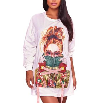 White Sweater Girl Graphic Sweatshirt Dress