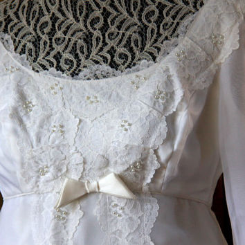 Sixties Wedding Dress - Vintage Empire Lace and Pearl Dress - Lace Trimmed Bridal Original Dress