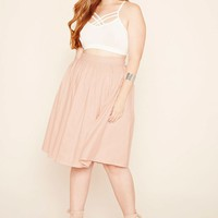 Plus Size Box Pleat Skirt