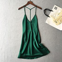 Women sexy naked back satin Nightgowns Nightwear Sleepwear Silk Dress