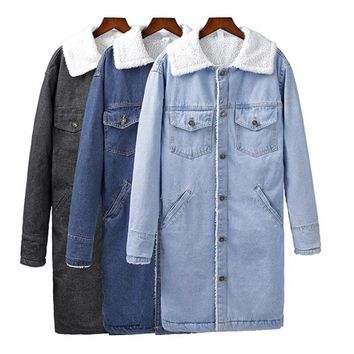 Spring Autumn Winter New 2018 Women lambswool jean Coat Long Sleeves Warm Jeans Coat Lengthen Outwear Wide Denim Jacket women