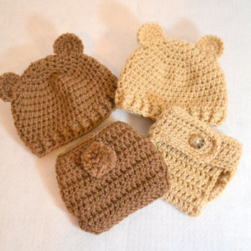 Twin Set, Crochet Bear Hat and Diaper Cover, Newborn Photo Prop, Baby Bear Beanie, 0 to 3 months,  Crochet Infant Hat, Crochet Diaper Cover