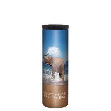 Stays At The Beach Elephant Barista Tumbler Travel Mug - 17 Ounce, Spill Resistant, Stainless Steel & Vacuum Insulated