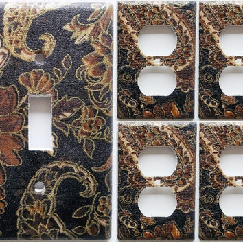 Unbreakable Flexible Nylon Rustic Gold Brown Flower Light Switch Plates Covers Bedroom Bathroom Wall Decor 3/8 larger Then Standard