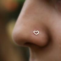 Valentine Heart Nose Ring Stud Sterling Silver Handcrafted