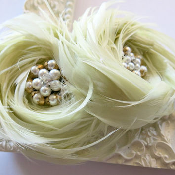 Wedding Hair Accessories, Feather Fascinator, Bridal Hairpiece, Wedding Hair Flower, Mint Hairclip