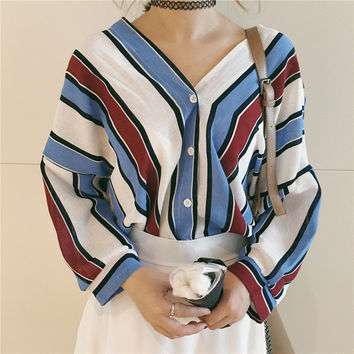 New  Fashion Korean style Summer Elegant Striped Blouse V-Neck Button Shirt Sexy Casual Blusas Women Tops 72514 SM6
