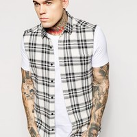 ASOS Sleeveless Shirt In Mono Check
