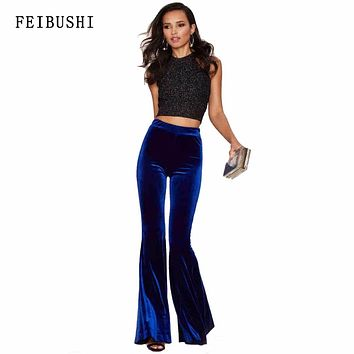 FEIBUSHI 2017 Womens Hot Winter Plus Size High Quality Solid Sexy Mid Waist Blue Long Velvet Flare Wide Leg Casual Pants