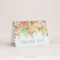 Thank You Stationery, Set of 10 | Folded Note Cards | Everyday Greeting Cards | Floral Watercolor, Pink, Mint | Jolie