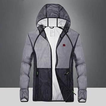 IN-YESON brand hooded jacket Spring Summer waterproof anti-UV sun-protective outdoor jacket men sunscreen hiking jacket coat men