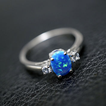 Blue Opal Ring - Full Sterling Silver CZ Blue Fire Opal Engagement Ring