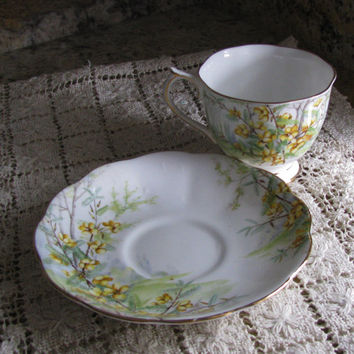 Royal Albert Crown China Made In England, Partridge Pea Flower, Footed/Pedestal Countess Shape Teacup And Saucer, 1930's