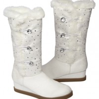 Rhinestone Faux Fur Lined Boots