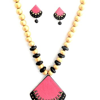 Terracotta Designer Pie Necklace with Earring Set