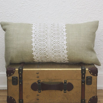 BURLAP LACE OBLONG Pillow   Warm Celadon Burlap Lace Accent Pillow . Naturally Beautiful Throw Pillow . Lace and Burlap A Gorgeous Pillow