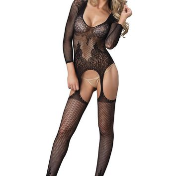 Long sleeved ring net and floral lace suspender bodystocking in BLACK