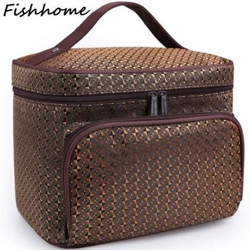 ESBU3C Diamond Lattice Big Cosmetic Bag Women Waterproof Professional Toiletry Kit Wash Necessaire Travel Organizer Make up Bags SZL62
