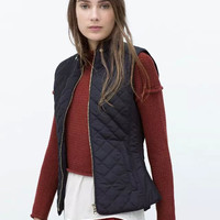 Sleeveless Zippered Winter Coat