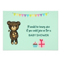 Cute Brown Bear with Yellow Flower Baby Shower Card