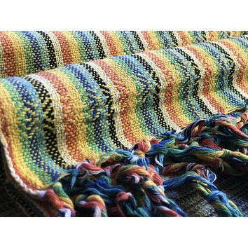 Mexican Rebozo Shawl - Yellow Rainbow