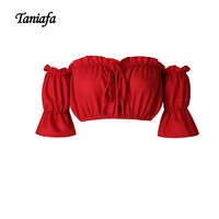 TANIAFA Fashion Bandage Elastic Short Sexy Crop Top T Shirt Women Beach Puff Sleeve Holiday Cool Off Shoulder Tops Strapless Bra
