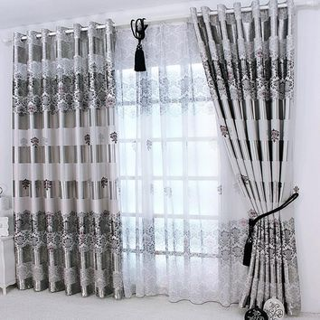 1 pc 2018 New Curtains for Windows Drapes European Modern Elegant Noble Printing Shade Curtain For Living Room Bedroom