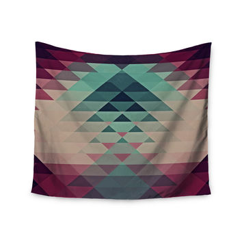 "Nika Martinez ""Hipster"" Maroon Teal Wall Tapestry"