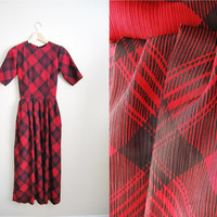 Streets of NY - Red Plaid Midi Vintage Dress Fall Trend Long Fitted
