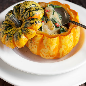 Meatless Monday: Roasted Squash with Thai Curry Squash and Spinach Filling - Seasons and Suppers