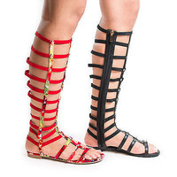 Candice52M by Bamboo, Elasticized Knee High Gladiator Studded Flat Sandals