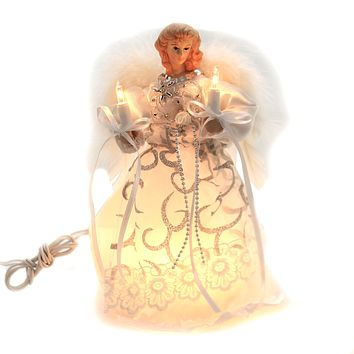 Tree Topper Finial WHITE SILVER ANGEL TREETOPPER Lighted Christmas Ul2205