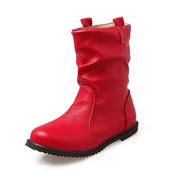 Women's Sewing Mid Waterproof Boots True size 34-52 Long Fashion Flats Booties Ladies Shoes Round toe Kvoll Botas Femininas Red