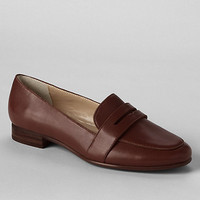 Womens Lands' End Brown women's leather penny loafers